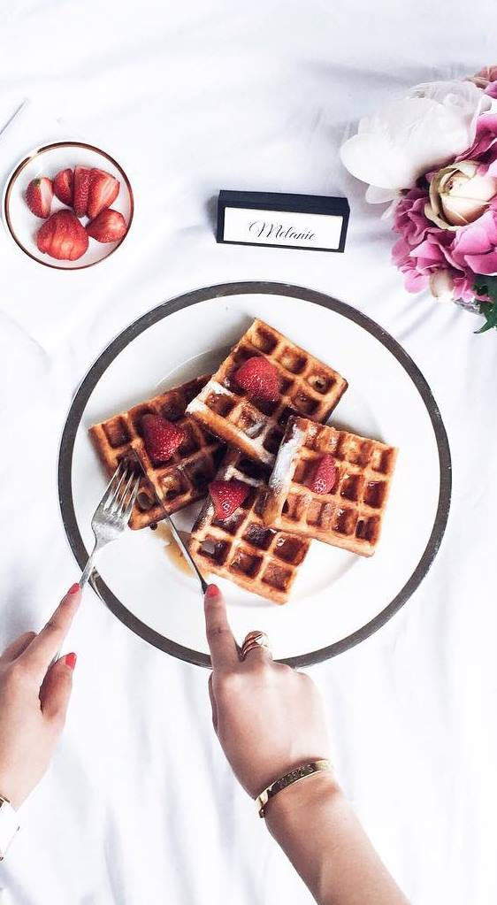 delicious dessert: waffles + strawberry