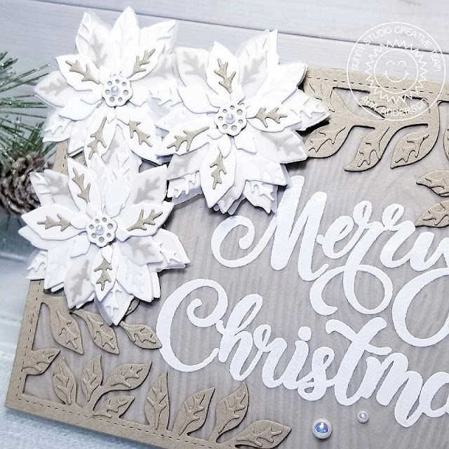 Sunny Studio Stamps: Layered Poinsettia Dies Season's Greetings Botanical Backdrop Dies Elegant Christmas Card by Ana Anderson