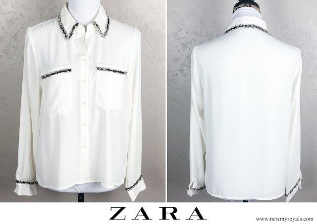 Princess Madeleine wore Zara Semi Sheer Blouse Tweed Trim