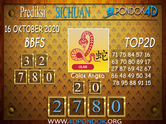 Prediksi Togel SICHUAN PONDOK4D 15 OKTOBER 2020