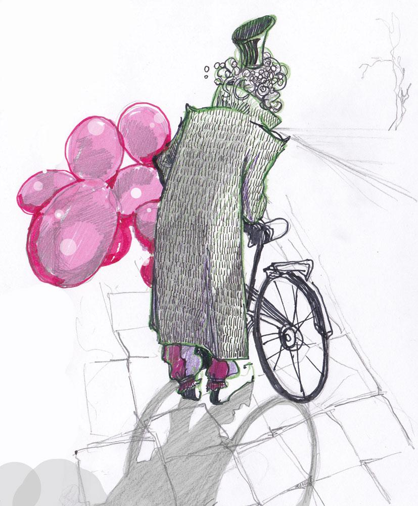 ilustracja dla dzieci ilustratorka Urbaniak wiersze opowiadania z balonami rower dwarf man magic with pink baloons bicycle