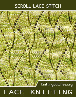 Scroll Lace Stitch. Scroll lace knitting. Scroll knitting stitch pattern. Lace stitch pattern. Knit lace