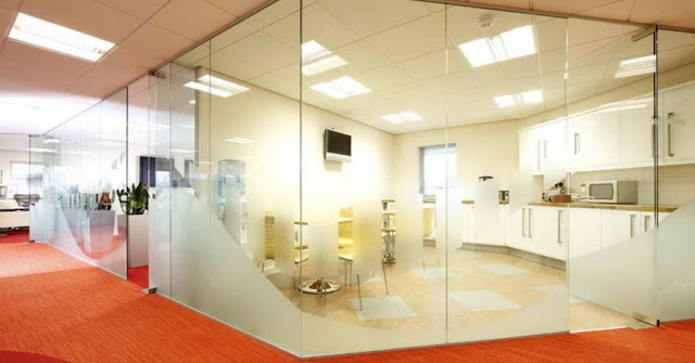 Commercial glass partitions