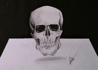 Skull drawing, 3d Drawing, how to draw 3d skull, learn to draw skull, online skull Drawing tutorial, easy to draw, step by step tutorial