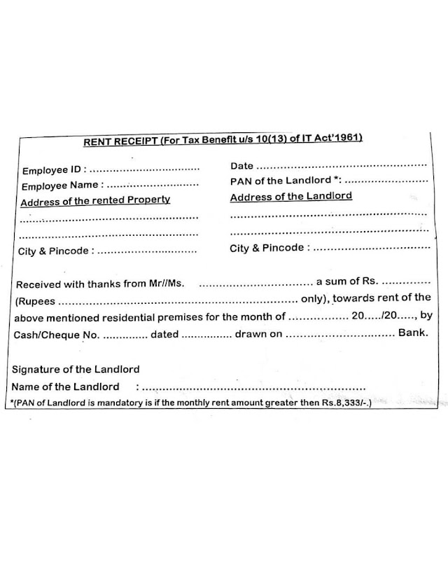 RENT RECEIPT (For Tax Benefit u/s 10(3) for IT Act 1961)