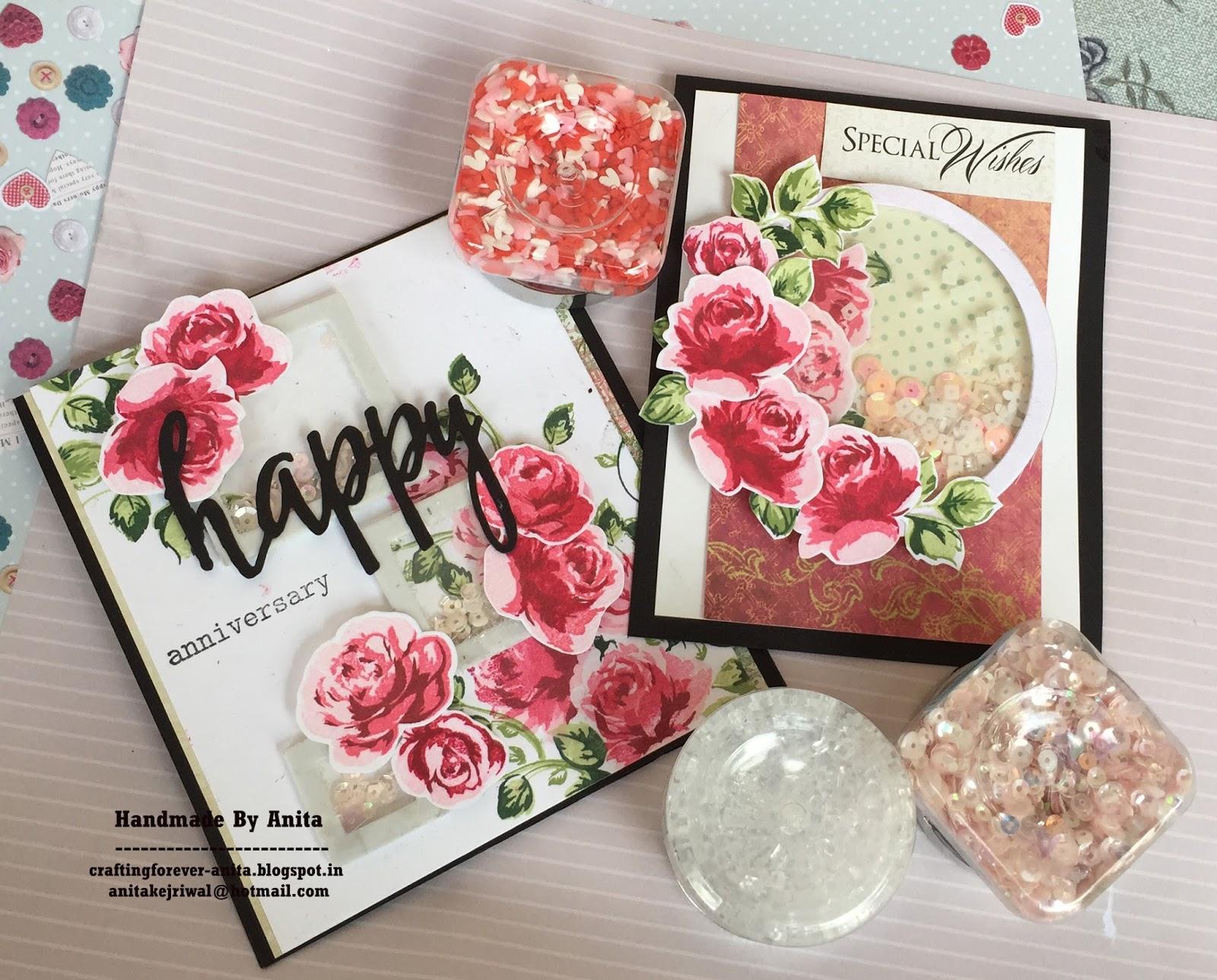 Anita kejriwal: shaker cards with dress my craft sequins