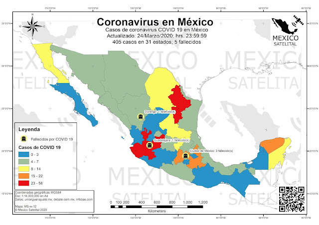 Mapa de coronavirus en Mexico