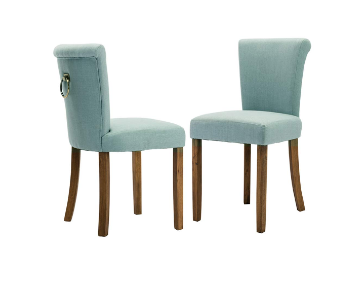 Fabric Upholstered Dining Room Chairs - Retro Armless along Ring Pull, Blue, Set of 2