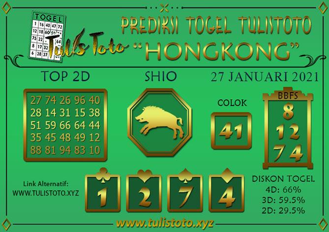 Prediksi Togel HONGKONG TULISTOTO 27 JANUARI 2021
