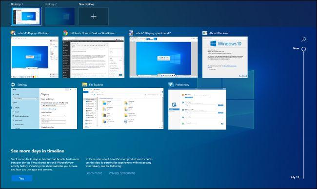 واجهة عرض المهام على نظام التشغيل Windows 10.