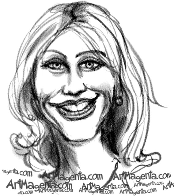 Cameron Diaz caricature cartoon. Portrait drawing by caricaturist Artmagenta.