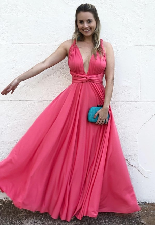 vestido longo rosa multiformas para madrinha de casamento