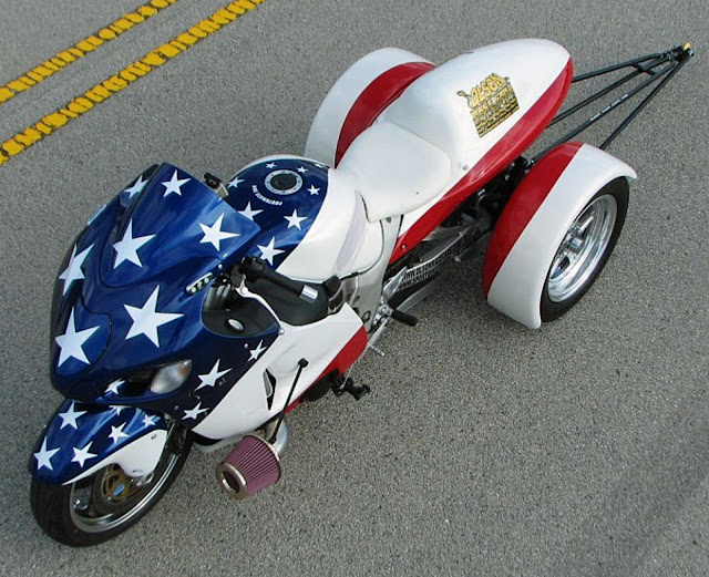 '00 Turbo Hayabusa Drag Trike  Red White and Blue Custom USA Stars Stripes Bike