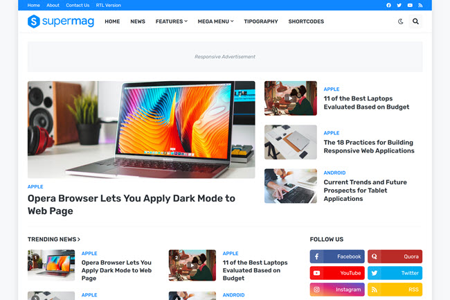 SuperMag - modelo de blogger de revista responsiva