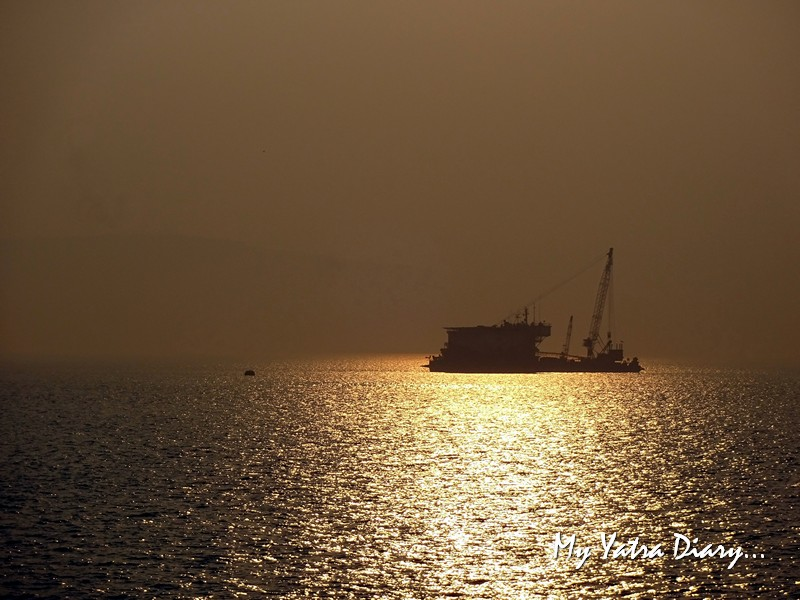 Boat during sunrise from the M2M Ro-Ro ferry Mumbai Port to Mandwa port