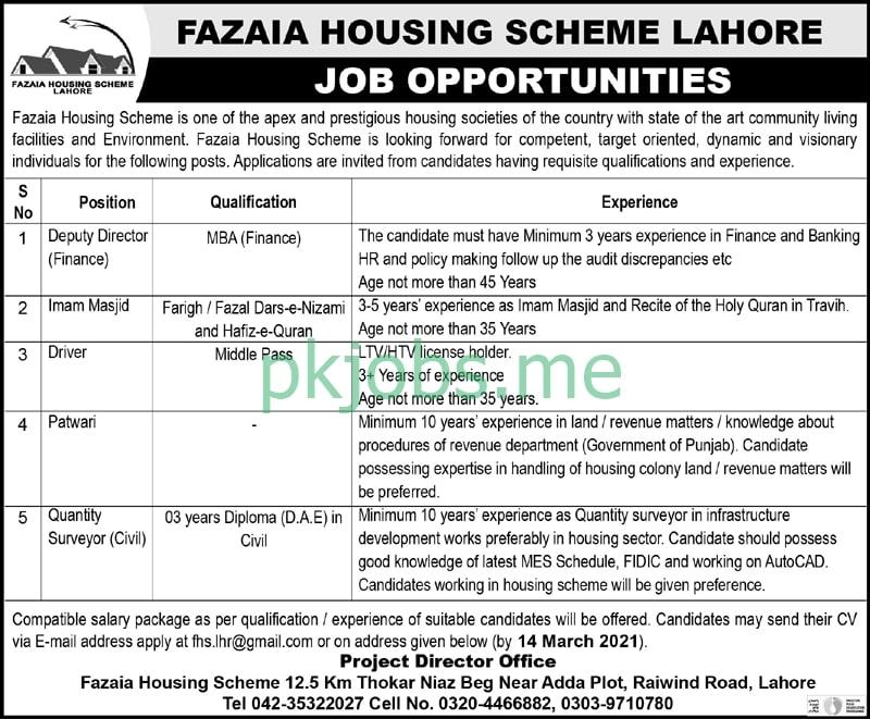Latest Fazaia Housing Scheme Management Posts 2021