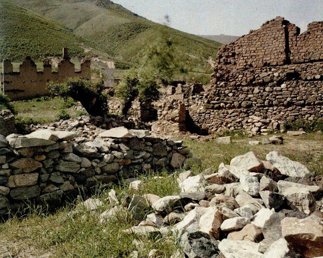 Destroyed houses in the village of Kazani.