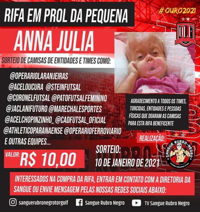 Torcida Sangue Rubro Negro promove rifa em prol da pequena Anna Julia