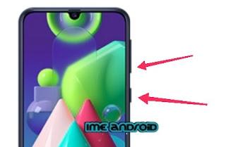 Screenshot Samsung M21 dengan tombol