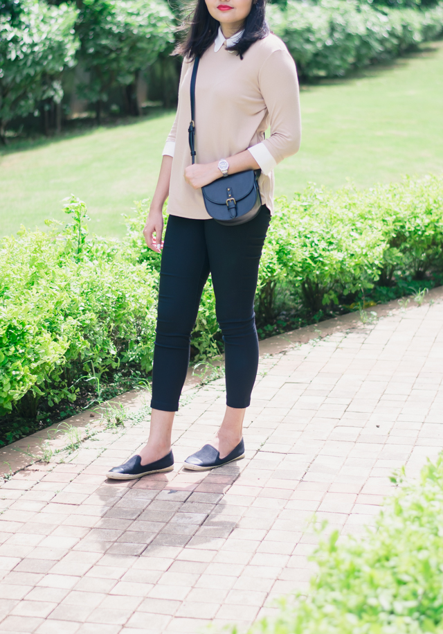 Scalloped Collar Jumper and Cropped Trousers Outfit