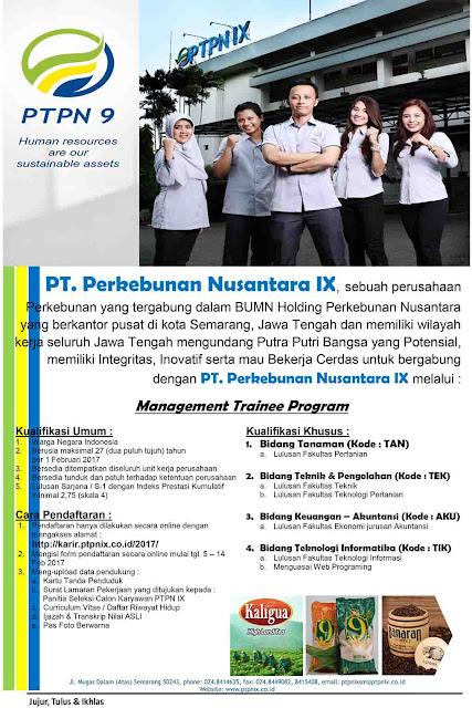 Lowongan Kerja PT.Perkebunan Nusantara IX Tahun 2017