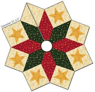 christmas star tree skirt with fusible appliqued stars free pattern by margrit hall for rjr fabrics pdf download
