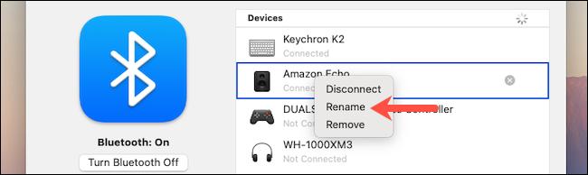 انقر فوق خيار إعادة التسمية في إعدادات Bluetooth لنظام macOS