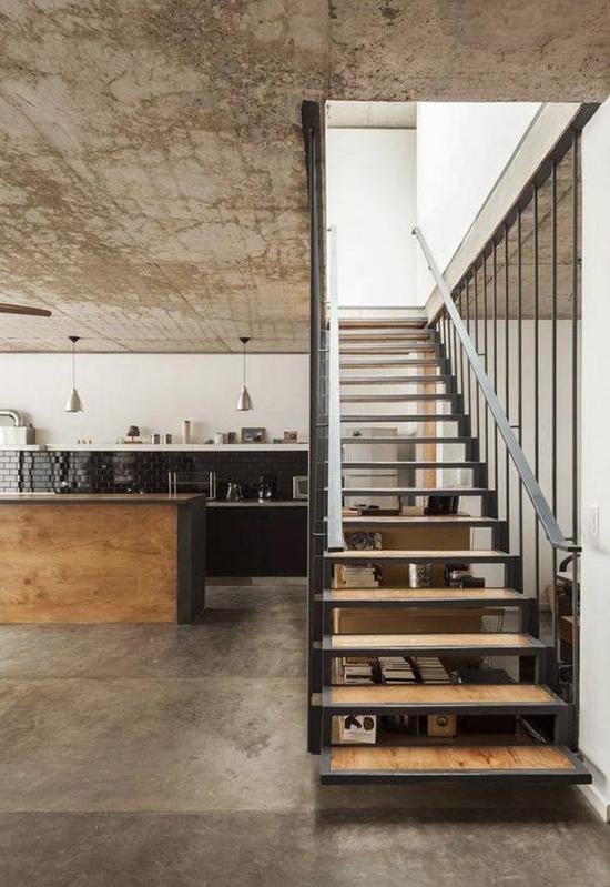 11 model inspirasi desain tangga minimalis dengan pijakan pipih
