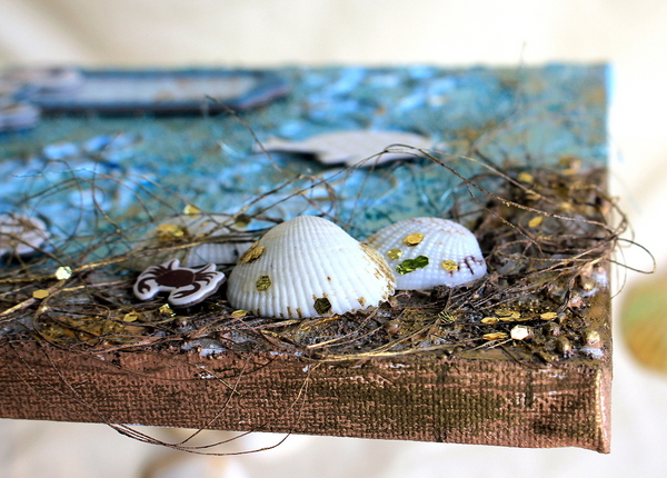 Life'S A Beach Mixed Media Canvas by Ulrika Wandler using BoBunny Down By The Sea