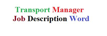 Transport Manager Job Description Word