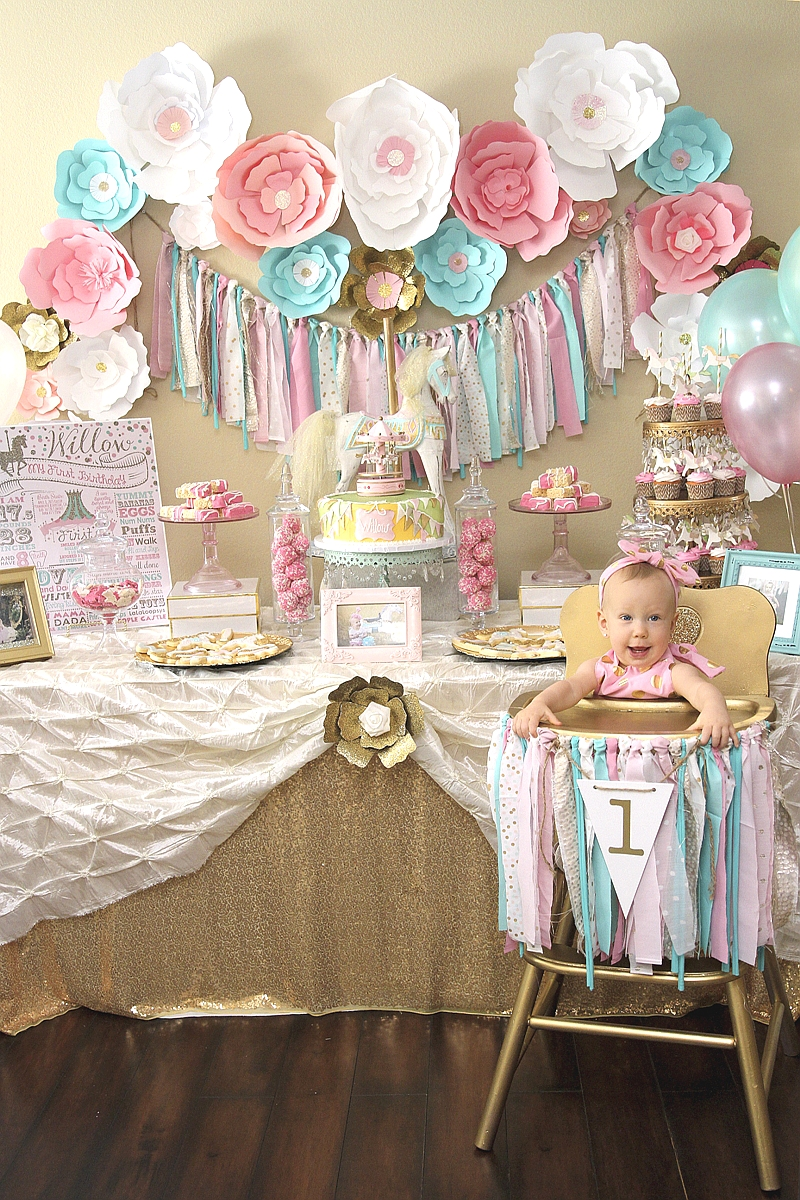 A pink gold carousel 1st birthday party party ideas for 1 year birthday decoration