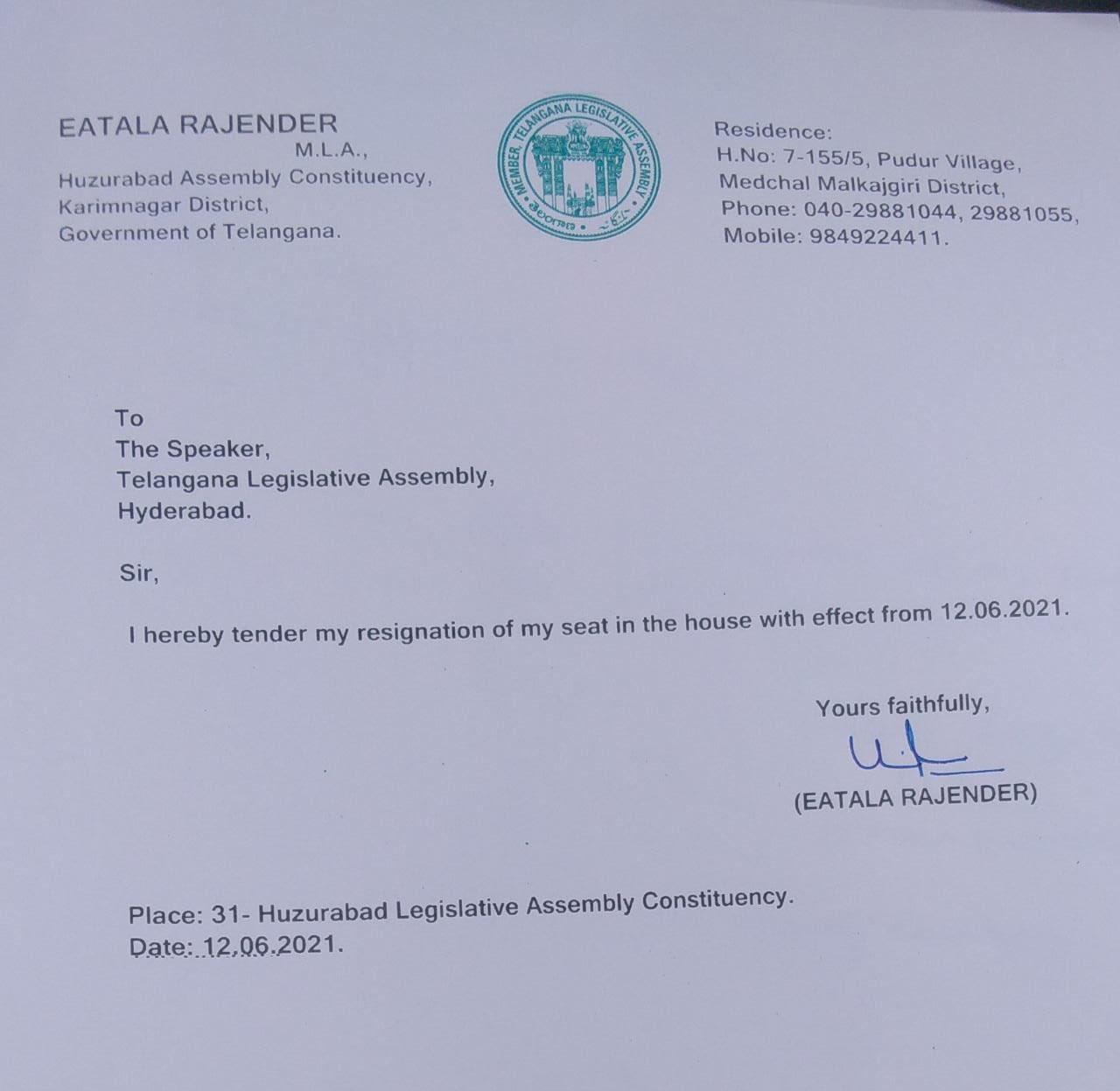Etela Rajender Resigned AS MLA