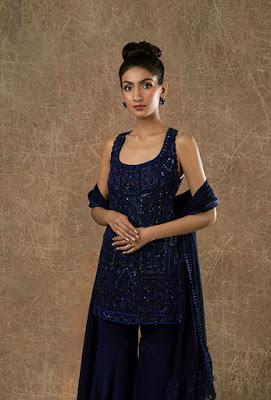 Manish Malohtra sharara set Indigo blue embellished sharara front side