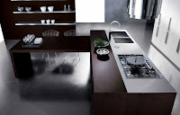 Minimalist kitchen furniture idea with wooden countertop and simple shelves for kitchen storage