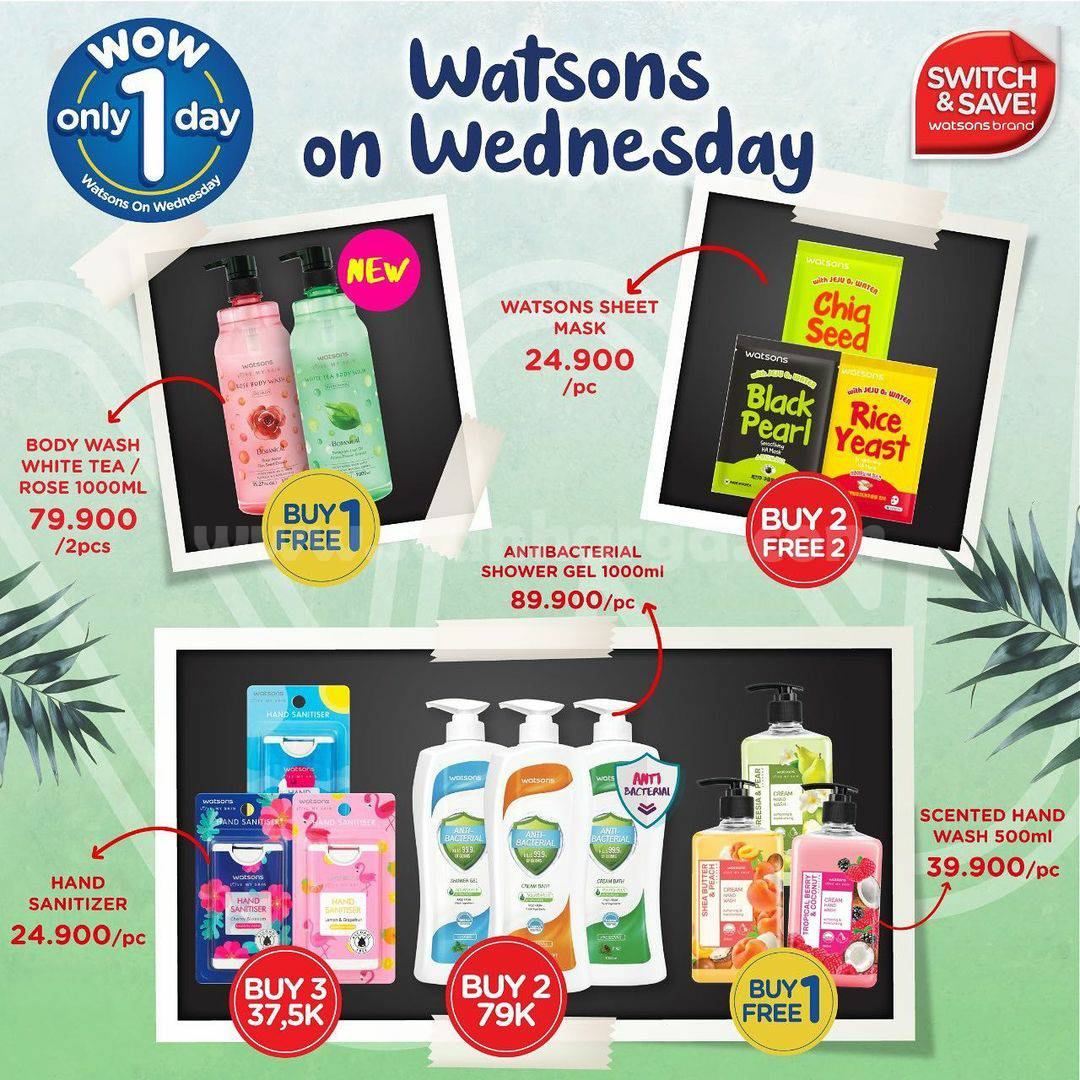 Watsons WOW! Promo On Wednesday ALL Watsons Brand Buy 1 Get 1 Free