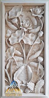Gambar relief dinding motif bunga lotus dan ikan koi