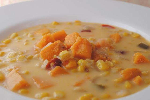 Vegan Sweet Potato Corn Chowder #vegetarian #soup