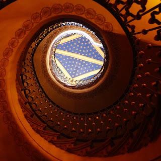 Escalera helicoidal del Hotel Museo Palacio de San Agustín en San Luis Potosí. Para los monjes agustinos esta escalera en espiral representa el camino para llegar al cielo
