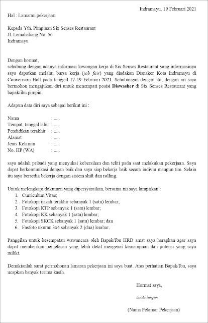 Contoh Surat Lamaran Kerja Untuk Diswasher (Fresh Graduate) atau Contoh application letter petugas pencuci piring (Fresh Graduate) berdasarkan informasi dari job fair
