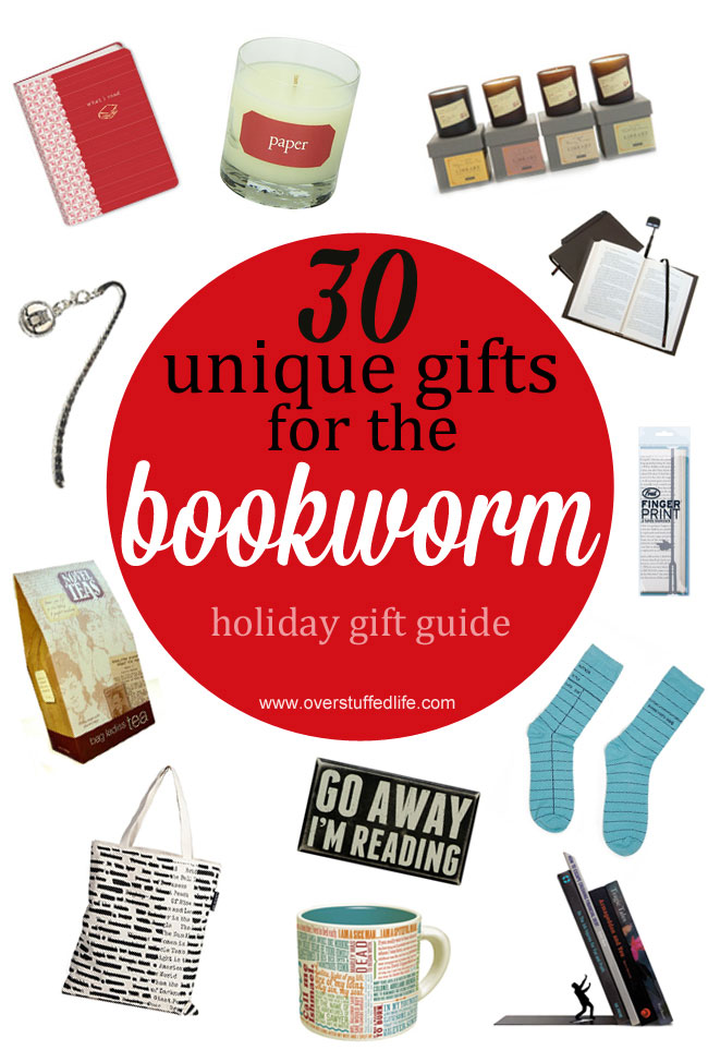 Do you have a book lover on your Christmas gift list? One of these 30 unique book themed gifts is sure to delight them! #overstuffedlife