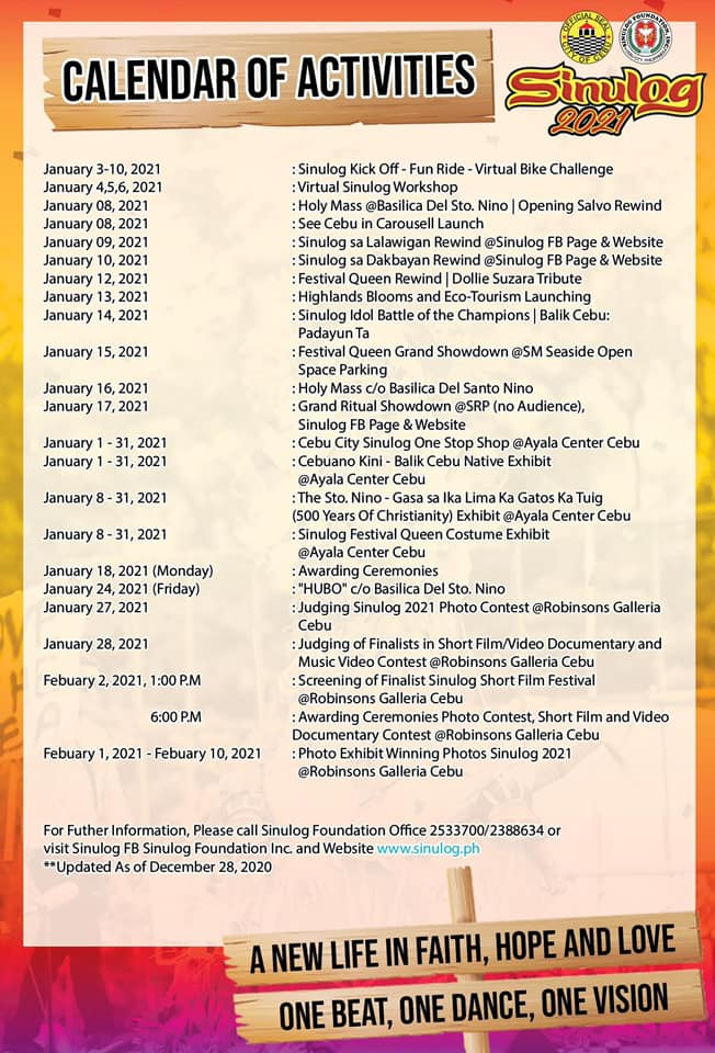 Sinulog 2021 | Calendar of Activities