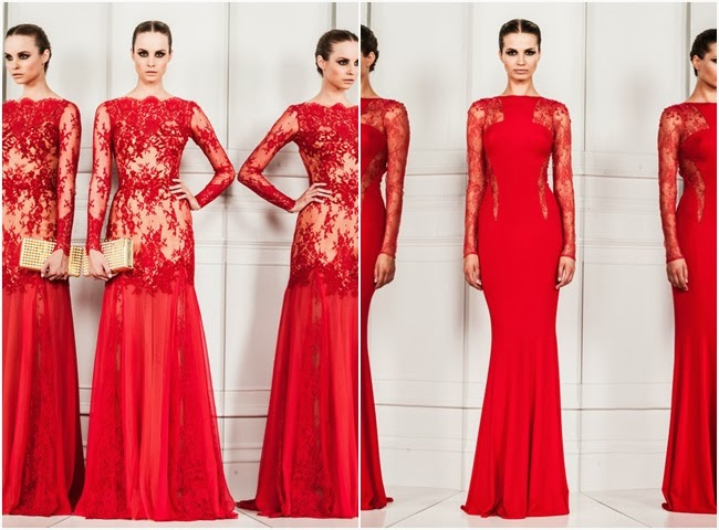 Zuhair Murad hot red long dresses with lace