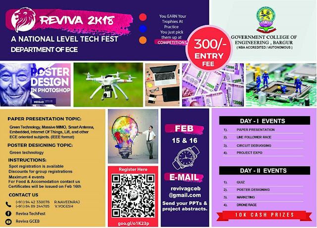 REVIVA 2K18: National Level Technical Symposium at GCE, Bargur, Tamil Nadu