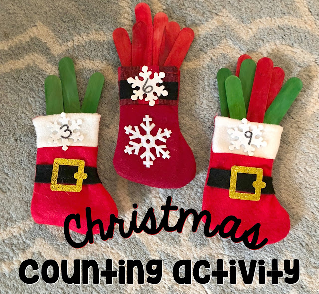 Christmas counting activity for preschool and Kindergarten