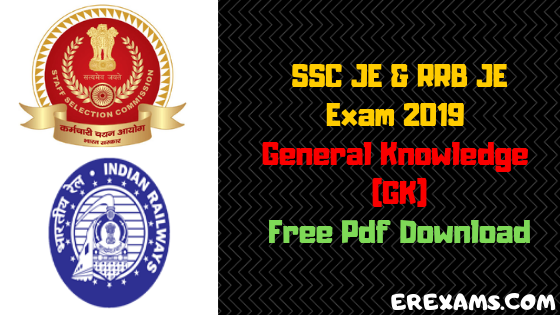 RRB JE, SSC JE 2019 General Knowledge (GK) Notes & Books Pdf