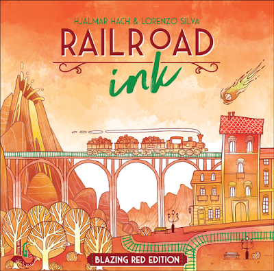 railroad ink blazing red edition board game cover art