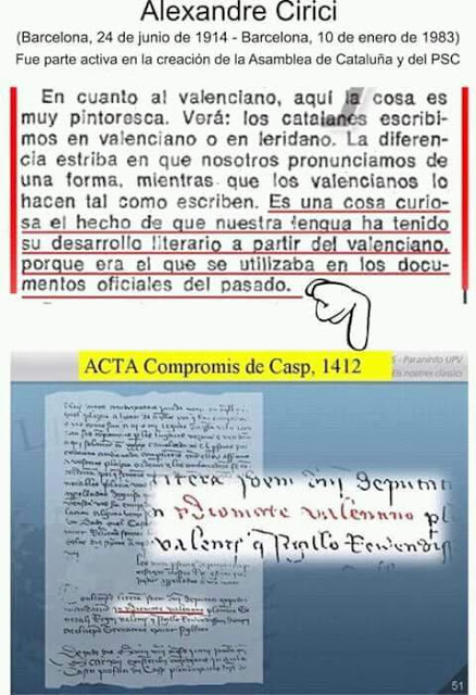 Alexandre Cirici, valenciano, Compromís de Casp