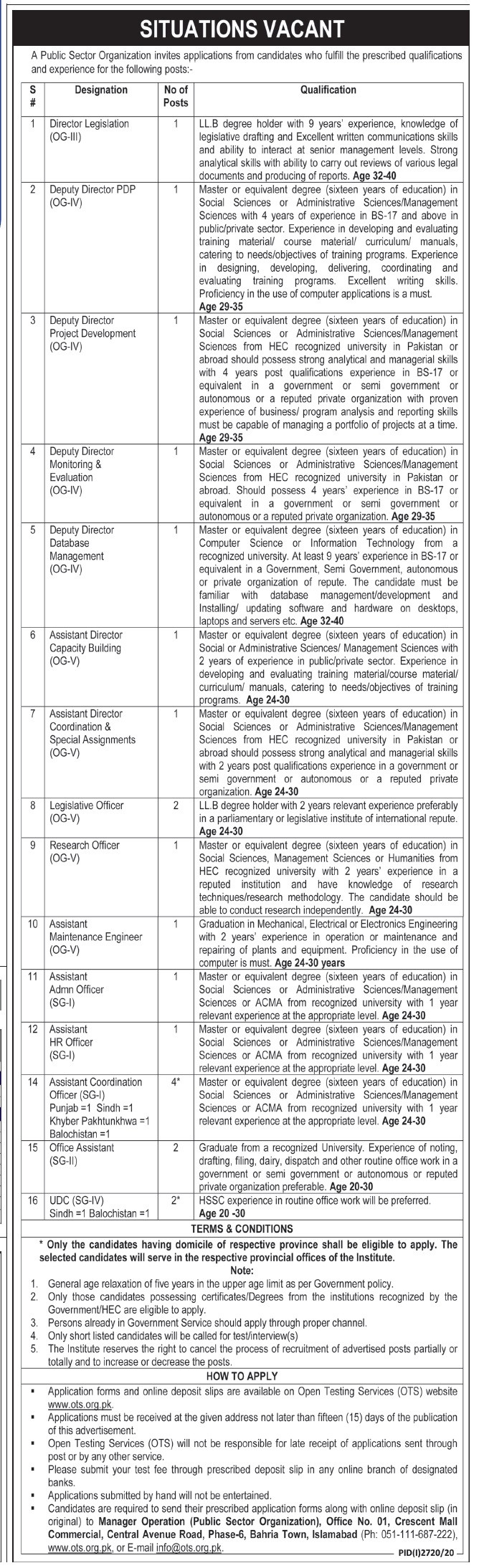 Public Sector Organization Islamabad Jobs Nov 2020 Deputy Director