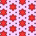 Roze wallpaper met rode bloemen