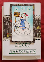 "Snowman with broom 5"" x 7"" white card using peel off stickers"